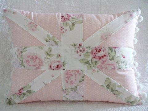Shabby Chic Rachel Ashwell Wildflower fabric Union Jack Cushion Pillow with pom pom trim ...