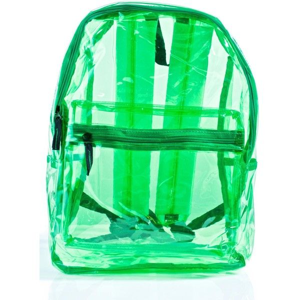 Clear Green Backpack ($30) ❤ liked on Polyvore featuring bags, backpacks, crystal clear bags, pvc bag, daypack bag, green bag and backpack bags