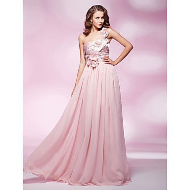 TS+Couture®+Prom+/+Military+Ball+/+Formal+Evening+Dress+-+Blushing+Pink+Plus+Sizes+/+Petite+Sheath/Column+One+Shoulder+Floor-lengthChiffon+/+Stretch+–+NOK+kr.+1.051