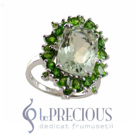 Inel regal cu pietre semipretioase naturale de Ametist verde si Chrome Diopside.