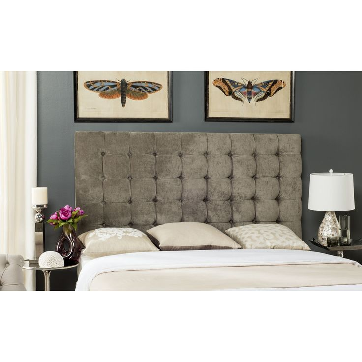 The luxurious Lamar king headboard is exquisitely upholstered in greige velvet blending cotton and linen for luster and enduring beauty. Glamorous and plush, this button-tufted headboard commands center stage in traditional and transitional bedrooms.