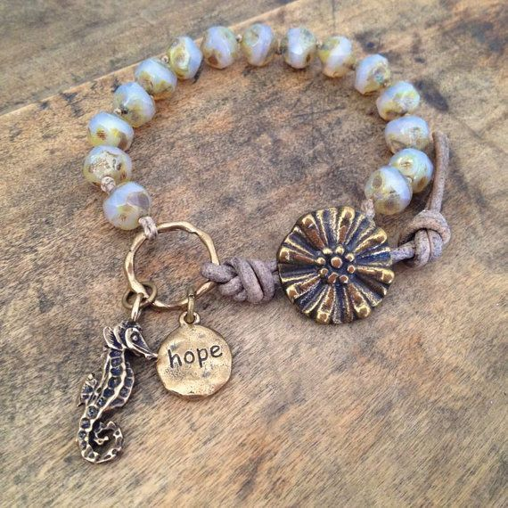 """Sea Horse Knotted Leather Wrap Bracelet """"Hope"""" Beach Chic Jewelry"""