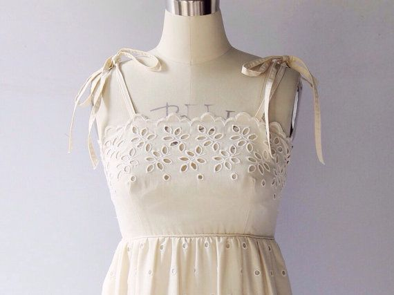 1970s Cotton Eyelet Sundress // Kay Unger Full by COCOVINTAGES