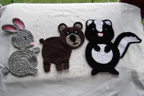 Large woodland animal applique crochet applique bear appliques