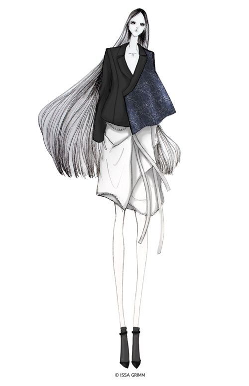 Fashion illustration - outfit sketch; chic fashion drawing // Issa Grimm