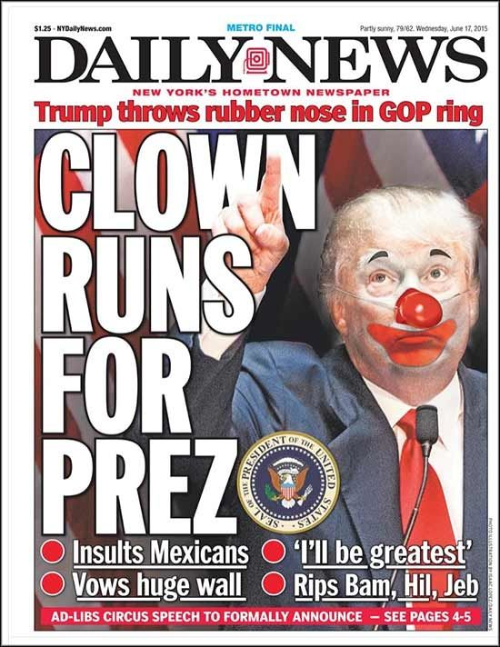 "Heeere's Donny! NY Daily News reports, ""Donald Trump threw his red, rubber nose into the ring Tuesday with a jaw-dropping, ad-libbed speech..."". He inherited his wealth from his father, Fred, who built a real estate empire in NY. UPDATE: In related news, the 2015 Miss Universe pageant has a new contestant. She's from the Greek-controlled, Republic of Hubris."