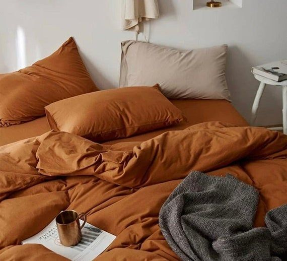 Washed Cotton Duvet Cover With Matching Pillow Cases Burnt Etsy In 2021 Orange Duvet Covers Orange Bedding Orange Bed Sheets