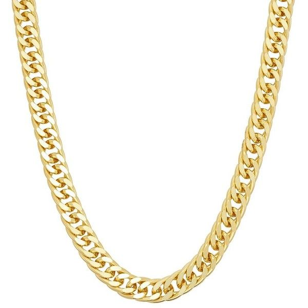 Men's 14k Gold Over Silver Curb Chain Necklace ($105) ❤ liked on Polyvore featuring men's fashion, men's jewelry, men's necklaces, yellow, mens silver chains, men's 14 karat gold chains, mens chain necklace, mens chains and mens watches jewelry