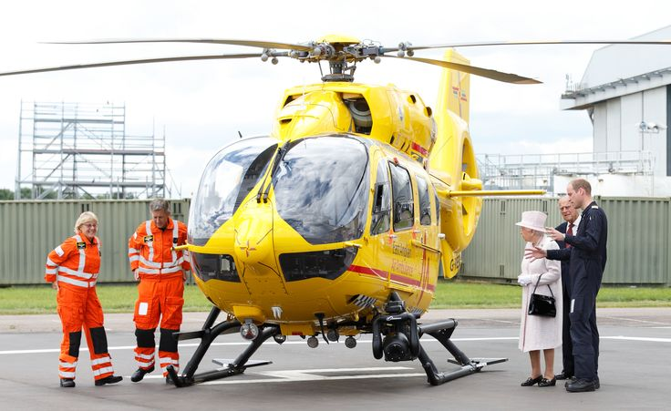 CAMBRIDGE, UNITED KINGDOM - JULY 13: (EMBARGOED FOR PUBLICATION IN UK NEWSPAPERS UNTIL 48 HOURS AFTER CREATE DATE AND TIME) Prince William, Duke of Cambridge gives his grandparents Queen Elizabeth II and Prince Philip, Duke of Edinburgh a tour of his air ambulance helicopter as they open the new East Anglian Air Ambulance base at Cambridge Airport on July 13, 2016 in Cambridge, England. (Photo by Max Mumby/Indigo/Getty Images) via @AOL_Lifestyle Read more…