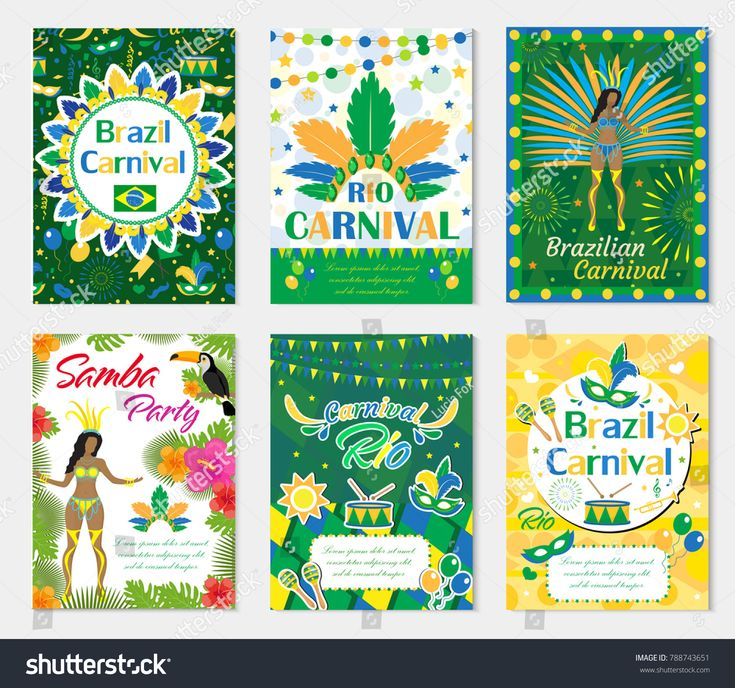 Welcome Brazil carnival set poster, invitation. Collection templates for your design with  mask, hat, feathers. Brazilian Festival, Masquerade background. Rio de Janeiro Travel concept. Vector