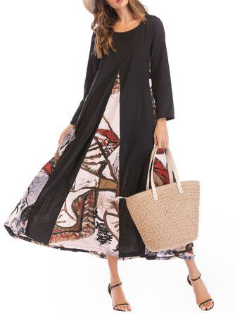 cbbfe01d885 Black Swing Women Cotton-blend Basic Long Sleeve Paneled Floral Fall Dress