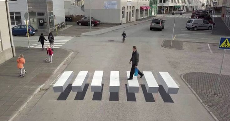 The town of Ísafjörður in Iceland has painted this 3D effect zebra crossing in an attempt to lower traffic speeds.