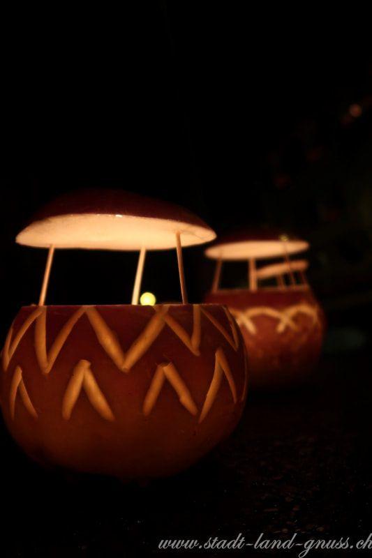 Räbeliechtli mit Hütchen als Schutz vor Regen. Räbelichtli Schnitzen. Herbstrüben verzieren.