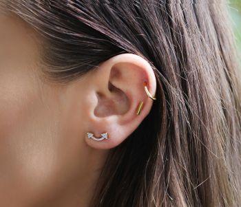 18CT GOLD VERMEIL ZIRCON PAVE DOUBLE ARROW STUD EARRINGS