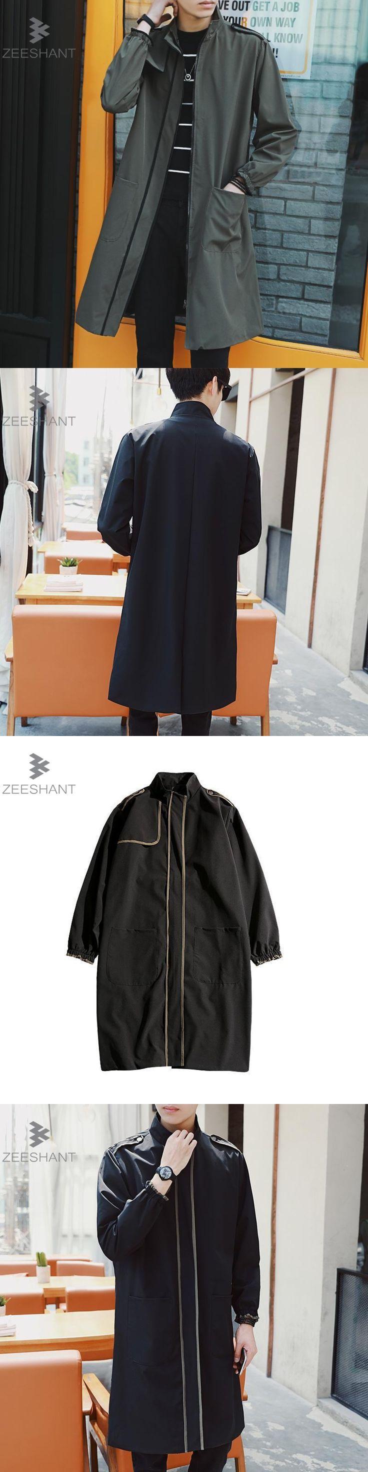 Zeeshant Outerwear Men's Army Green Coats Zipper Men Streetwear Jackets Men Clothing Fashion Coats in Men's Trench XXXL