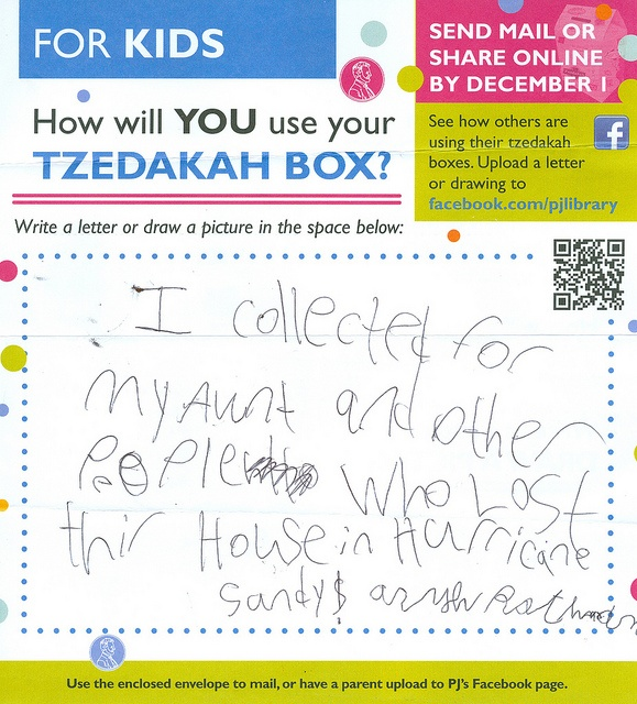 """Collecting for Sandy"" This submission wants to use their tzedaka savings to help people who lost their house in Hurricane Sandy."