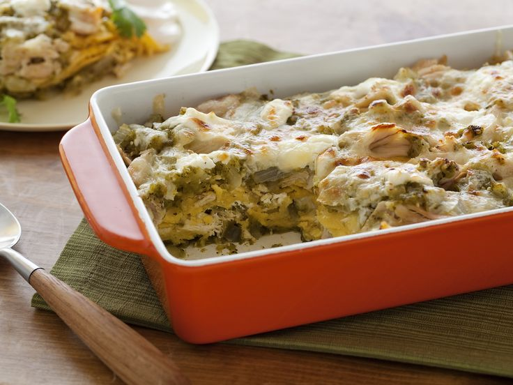 Roast Chicken Enchilada Suizas Stacked Casserole Recipe : Rachael Ray : Food Network - FoodNetwork.com