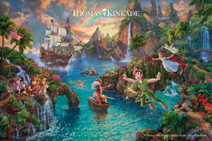 Introducing Peter Pan's Never Land – NEW Limited Edition Art from Thomas Kinkade Studios that celebrates the magic of childhood!  A tribute to Disney's classic film, this painting reminds us that although we may grow up, we should view the world with the wonderment of a child, and that the bonds of a true friendship can lift us up throughout our lives.  See this image at your local Thomas Kinkade Gallery or online at https://thomaskinkade.com/art/disney-peter-pans-never-land/