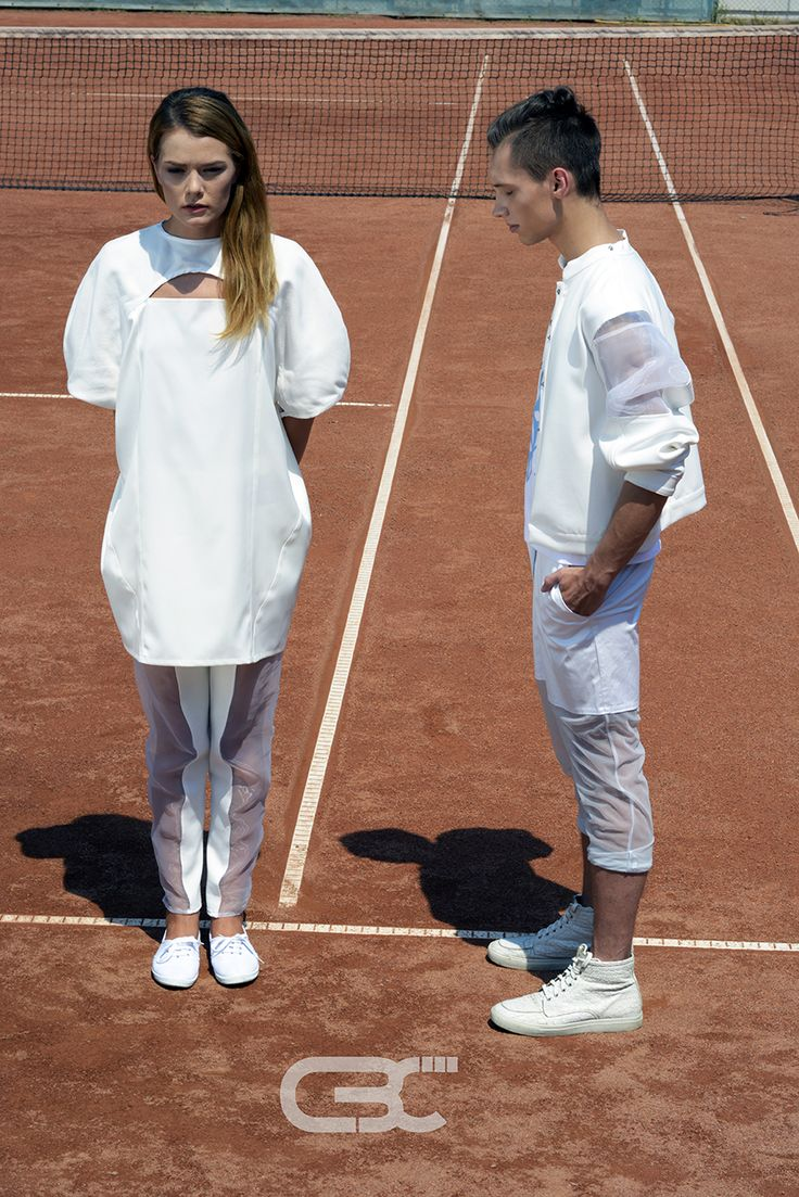 Lookbook:  Her: White dress, sheer pants. Him: White bomber jacket, white tshirt, sheer and white pants. Tennis court, sport, sportswear, fitness, trends, unisex, campaign photos. Order via facebook, pm or e-mail.