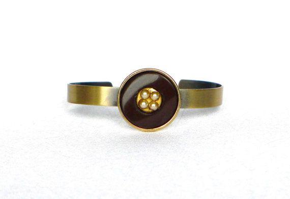 verstellbarer Metall Armreif bronze braun gold Armband von LonasART