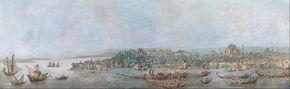 Sarayburnu Panoraması - Louis-François Cassas. Kağıt üstüne suluboya, 75 x 237 cm 1787-1827 - Kompozisyon, solda Boğaz'ın girişi ve Kadıköy, sağda ise Sultanahmed Camisi'yle sınırlandırılmıştır.Cassas, bu eserinde Haliç'te ve Sarayburnu önlerinde yelkenliler, ticari tekneler ve köşklü saltanat kayıklarıyla deniz üstündeki canlı yaşantıyı da resme katmıştır. Sanatçının, ön planda bitki örtüsü ve mezarlığıyla Galata'yı da gösteren benzer bir eseri Fransa'da Musée de Valenciennes…