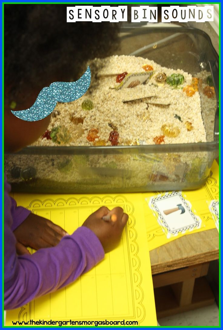 Fall sensory bin full of oats! Students choose a card and write the beginning sound!