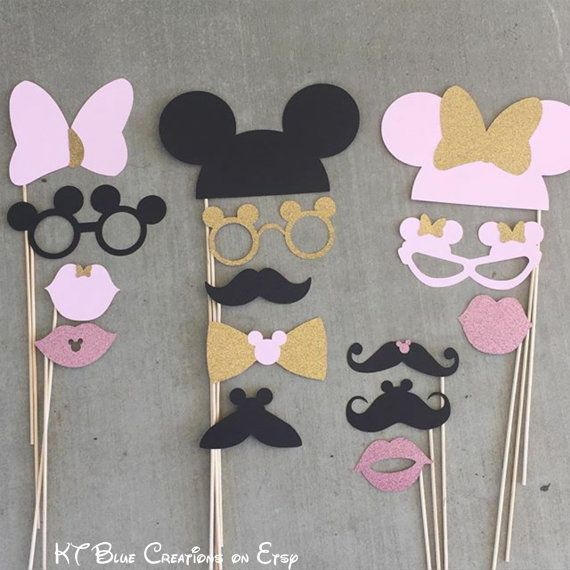 Mickey & Minnie GLITTER Photo Props Light Pink por ktbluecreations