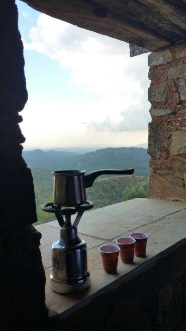 Enjoying traditional Cyprus coffee with a lovely view from an abandoned outpost near Machairas Monastery
