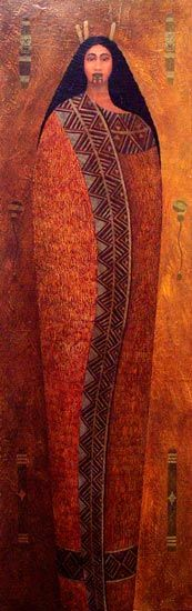 Papatūānuku, the earth mother in Māori tradition, is seen as the birthplace of all things. This painting is by Victor Tukuafu, who is of Ngāpuhi, Ngāti Tūwharetoa and Tongan descent.