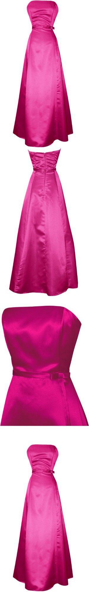 50s Strapless Satin Long Bridesmaid Prom Dress Formal Junior Plus Size, 2X, Fuchsia