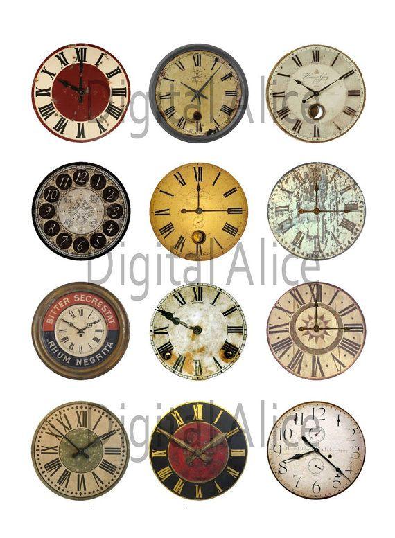 VINTAGE orologio affronta Craft cerchi - Instant Download digitale stampabile - Bottlecaps, adesivi, Steampunk industriali orologi antichi - 4 taglie