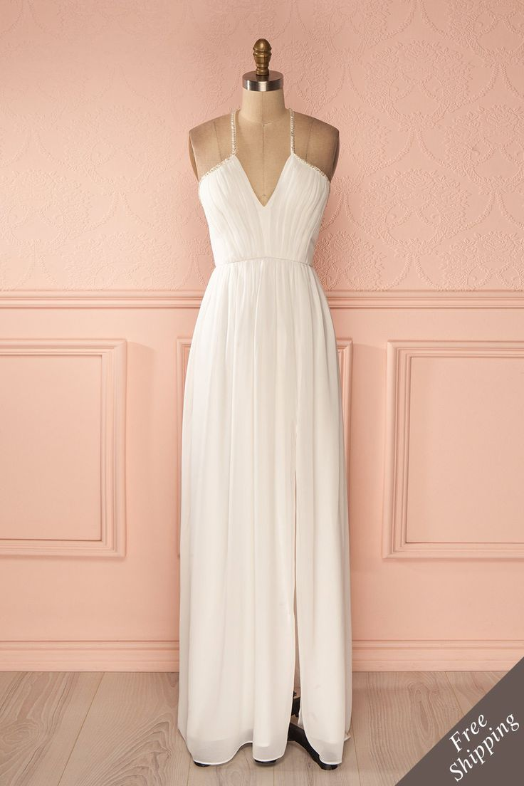 Robe longue voile blanc buste plissé bretelles fines billes - White veil beaded thin straps pleated bust maxi dress