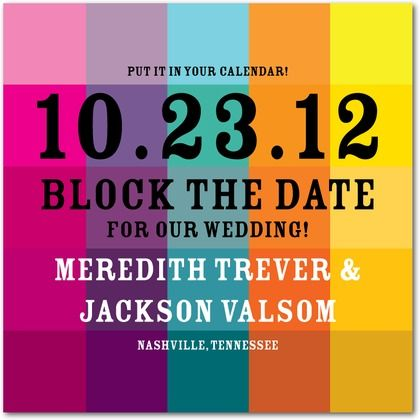 color block wedding save the date: Save The Date, Dates, Wedding Ideas, Shops, Colorblock Save, Cards Block, Dream Wedding, Card Ideas