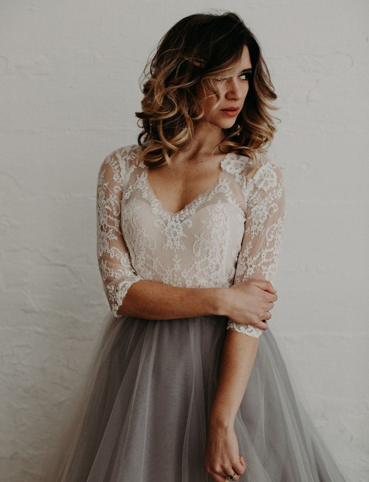 Mignonette Bridal Atelier Dress // gray tulle skirt and lace top