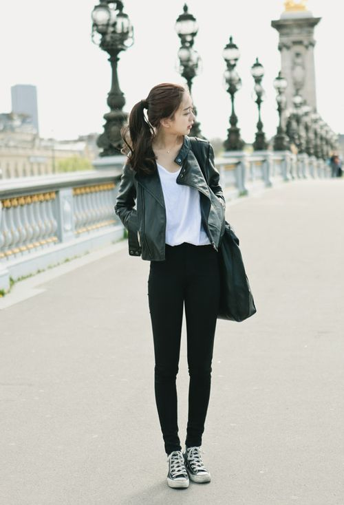 Very cute and effortless look with the black leather jacket, white tee, jeans, and sneakers.