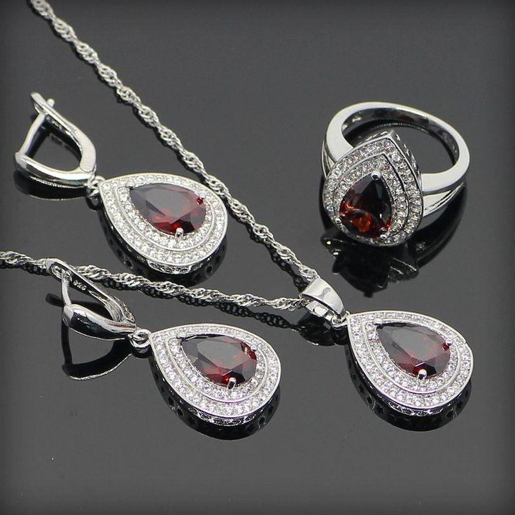 Red Ruby White Topaz 925 Sterling Silver Jewelry Sets For Women Sterling Sliver Pendant/Necklace/Earrings/Rings Free Gift Box www.bernysjewels.com #bernysjewels #jewels #jewelry #nice #bags