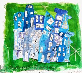 teken met witte wasco sterren/ wolken op wit vel. Oververf met ecoline. Op smalle tekenvellen hoge huizen tekenen. Inkleuren met materiaal naar keuze. Trek de huizen en de ramen om met zwarte fineliner en knip ze uit. Leg de huizen op het geverfde grote vel en maak zo een mooie collage. Let op dat je geen onderkanten van de voorste huizen ziet.