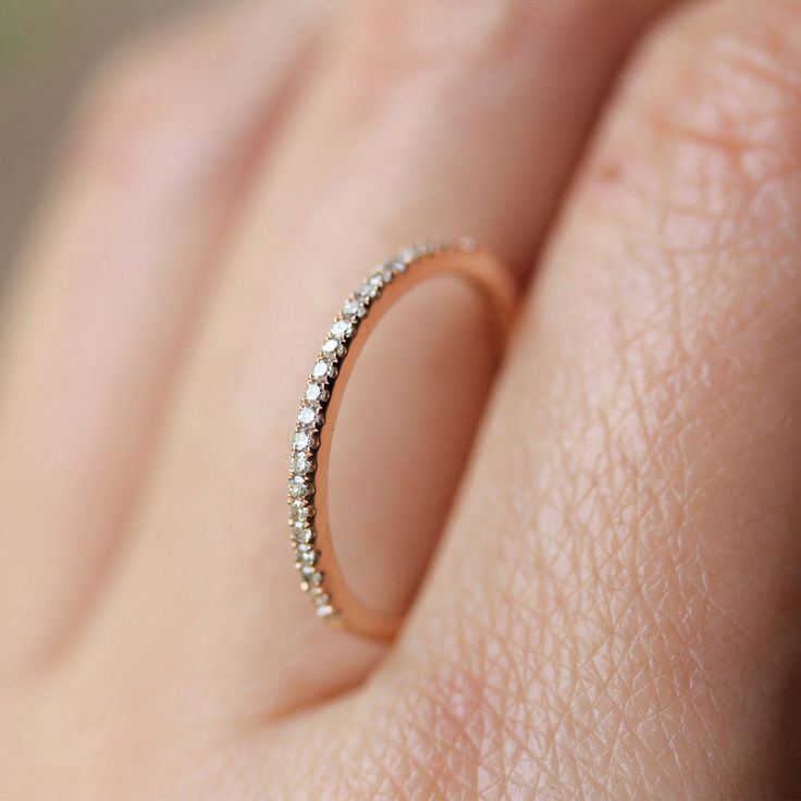 So small and simple! If I get married, THIS is the kind of wedding ring I want.  Micro Pave White Diamond Half Circle Band in 14K Gold