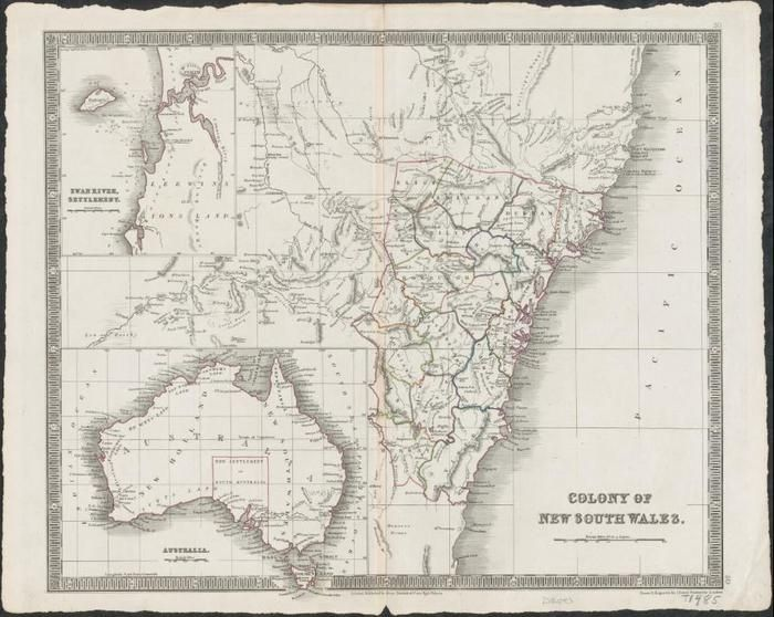 A map of the NSW Colony thought to have been drawn in 1838, the year of the Myall Creek Massacre
