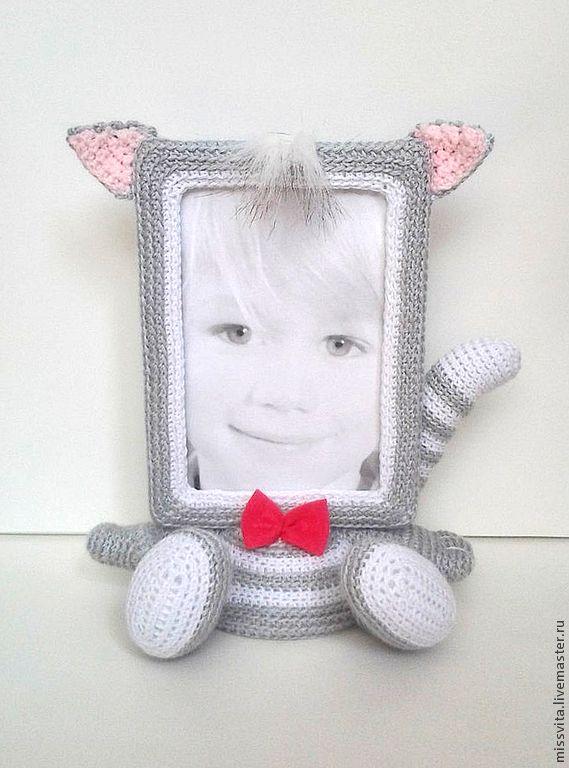 """Купить Фоторамка """"Котик с бантиком"""" - девочке, милый подарок, милая игрушка, фоторамка, рамка для фото"""