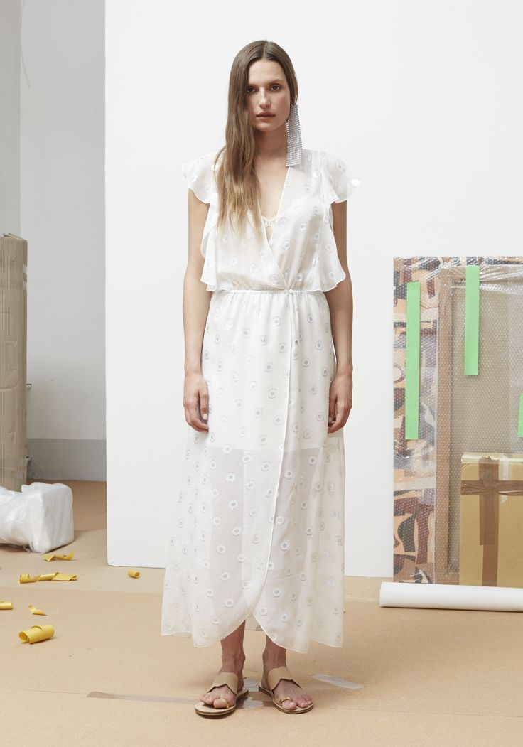 Rodebjer SS16: Dress Melania White/Silver, Shoes Kath Nude.