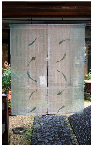 """DIY room dividers- traditional Japanese """"Noren""""  Maybe to the diningroom from the kitchen or diningroom and formal livingroom."""