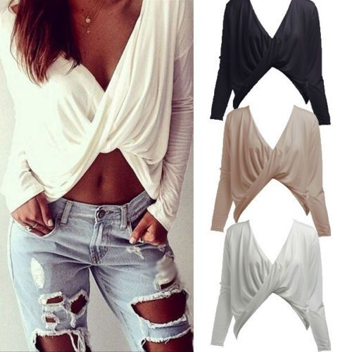 Sexy-mujeres-Plunge-Profundo-Cuello-en-V-Cross-Trenzado-Crop-Top-Blusa-Camiseta-Informal-Prendas
