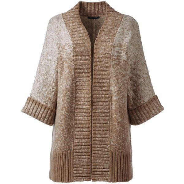 Lands' End Women's Plus Size Elbow Sleeve Ombre Cardigan Sweater ($149) ❤ liked on Polyvore featuring plus size women's fashion, plus size clothing, plus size tops, plus size cardigans, tan, half sleeve cardigan, dolman-sleeve tops, womens plus tops, ombre cardigan and elbow sleeve cardigan