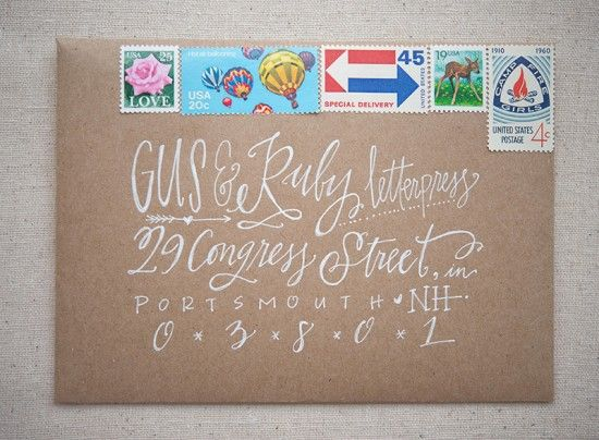 Summer Camp Wedding Invitations by Gus & Ruby Letterpress via Oh So Beautiful Paper // calligraphy by Lindsay Letters