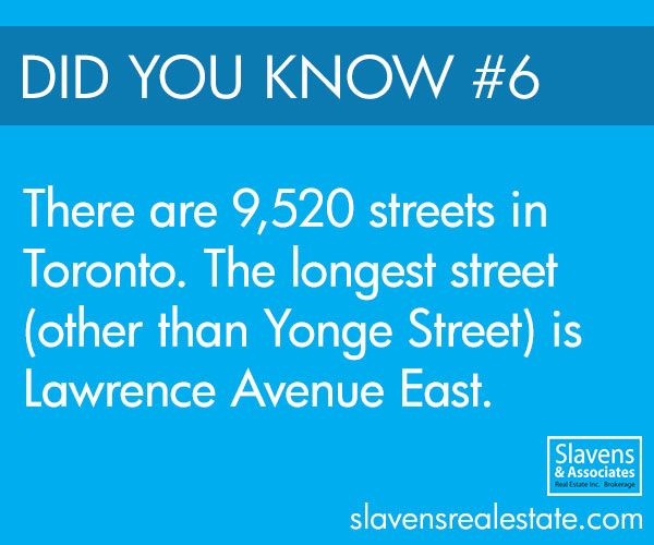 There are 9,520 streets in the city of Toronto. Yonge Street is the longest street that passes through the city, with Lawrence Avenue East being the second longest street.Most of the roads in Toronto are aligned based on the shoreline of Lake Ontario, but some of the Toronto road system was influenced by the topography of the land.