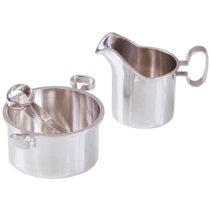 Bertel Gardberg Silver Creamer and Sugar Bowl with Tongs | From a unique collection of antique and modern sterling silver at https://www.1stdibs.com/furniture/dining-entertaining/sterling-silver/