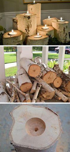 Praxis | Maak in houtblokken een inkeping om een waxinelichtje te doen. maakjouwkerst
