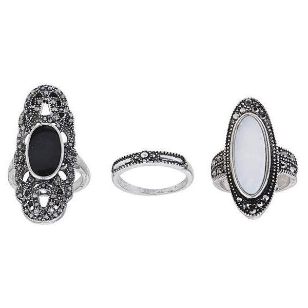 TOPSHOP Shell And Cut-Out Ring Pack found on Polyvore featuring jewelry, rings, accessories, black, black jewelry, cut out ring, black ring, topshop rings and kohl jewelry