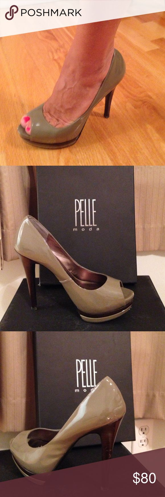 Pelle Moda shoes Taupe patent leather. Left foot shoe has tiny scuff marks. Pelle Moda Shoes Heels